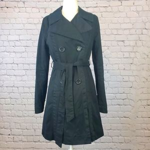 Old Navy Black Belted Trench Coat Size small
